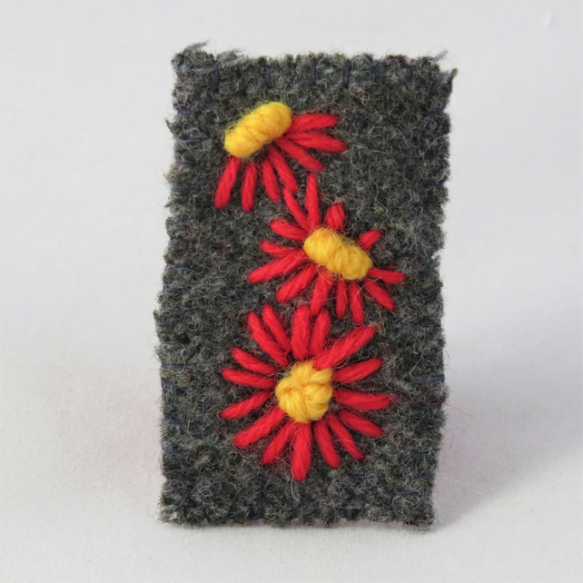Brooch - Red daisies embroidered on recycled felted brown tweed