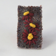 Brooch - Brown daisies embroidered on recycled, felted, beige and brown tweed