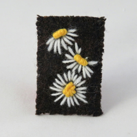 Brooch - White daisies embroidered on recycled, dark brown tweed
