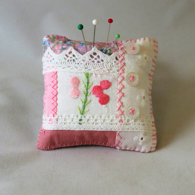 Pink Patchwork Pincushion from recycled linen, lace and buttons