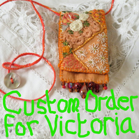 Orange and Cream Textile Embroidered Keepsake Pendant vintage linen, lace, beads