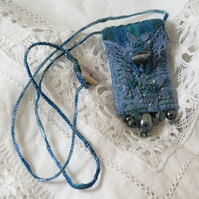 Blue and Green Textile Embroidered Keepsake Pendant vintage linen, lace, beads