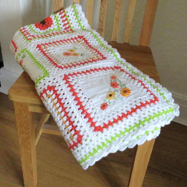 Embroidered Linen and crochet blanket - white,  green and yellow