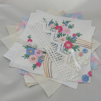 Inspiration pack including embroidered vintage linens