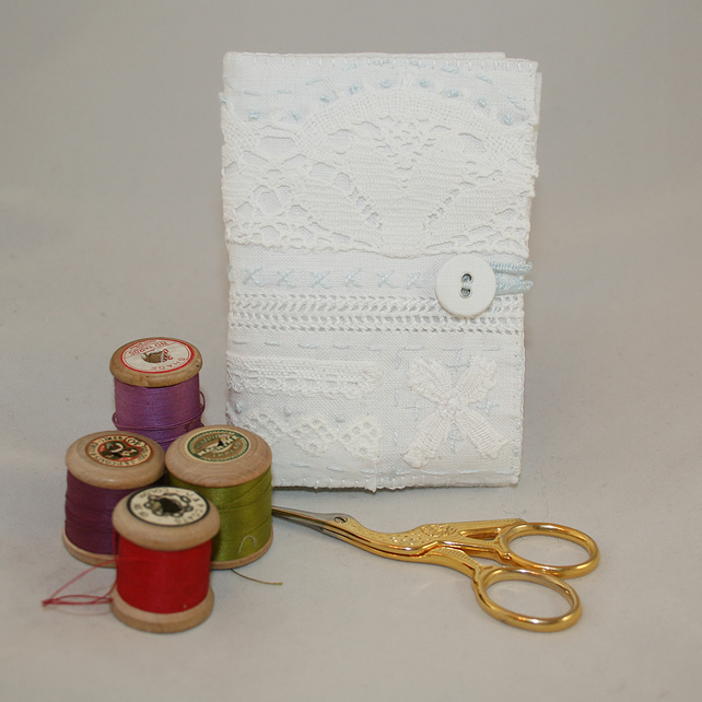 Vintage linen and lace needle book