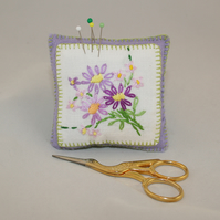 Pin Cushion - lilac daisies from vintage linen