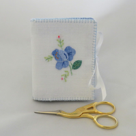 Needle book - blue applique from vintage linen