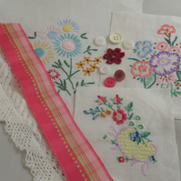 Inspiration pack including embroidered vintage linens - pink