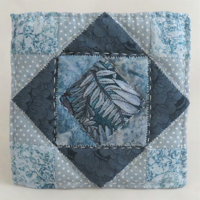 Patchwork Coaster - Teal, quilted