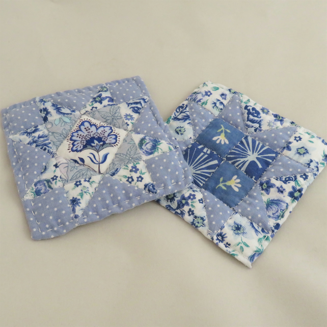 2 Patchwork Coasters - Blue and white, quilted