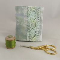 Painted Needlebook with Painted Vintage Lace
