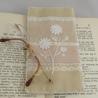 Glasses case from vintage linen and lace
