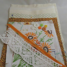 Inspiration pack including embroidered vintage linens - green and orange