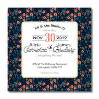 50 Midnight Floral Wedding Invitations