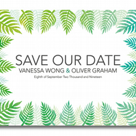 25 Watercoloured Leaf Save the Dates