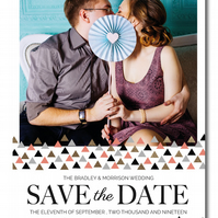 25 Bitsy Triangle Personalised Save the Date Cards with Foil