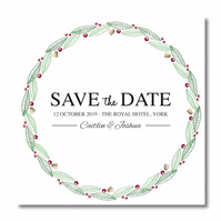 50 Gold Heart Wreath Personalised Save the Dates with Real Foil