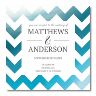 50 Blue ZigZag Wedding Invitations