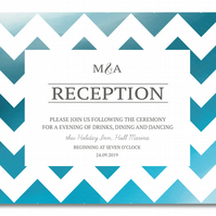 50 Blue ZigZag Wedding Reception Invitations