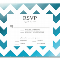 50 Blue ZigZag Wedding RSVP Invitations