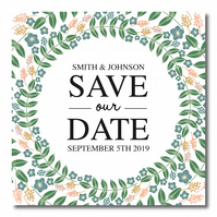 25 Autumn Wreath Wedding Save the Date Cards
