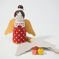 Miniature wooden peg doll - angel