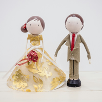Miniature wooden wedding couple doll, cake topper