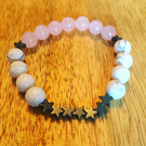 Beautiful Rose Quartz, Howlite and Hematite star bracelet