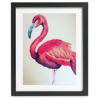 Framed, Pink Flamingo Fine Art Print - Framed and Mounted