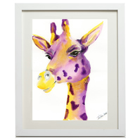 Framed - 'Mr Giraffe' - Art Print by artist Hannah Danielle - Framed and Mounted