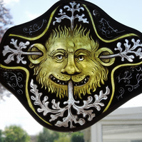Arts and Crafts,Victorian,Medieval,Greenman, Green Man,Stained Glass Suncatcher