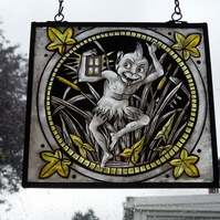 "Arts and Crafts, Victorian, Medieval, ""The Bat and The Moon"", Stained Glass."
