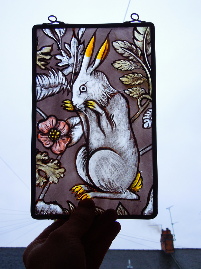 Arts and Crafts,Victorian,Medieval,Hare,Rabbit,Bunny,Stained Glass Suncatcher