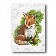 A6 Animal British Wildlife Fox Greetings Birthday Card (F251)