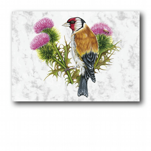 A6 Goldfinch Greetings Card on Marble board (F252)