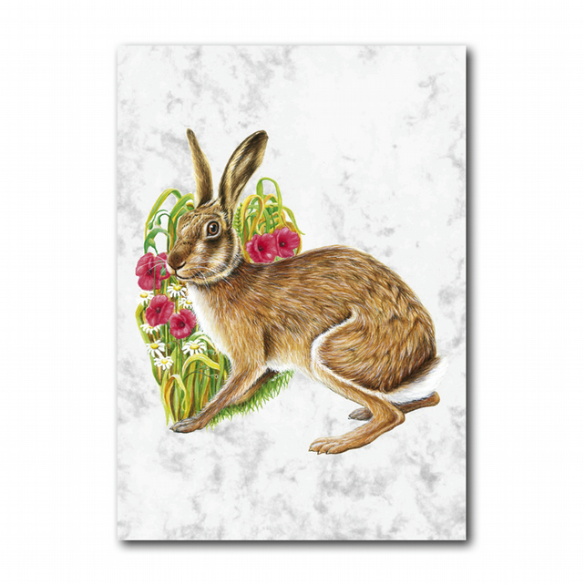 A5 Hare Greetings Card on Marble board (F253)