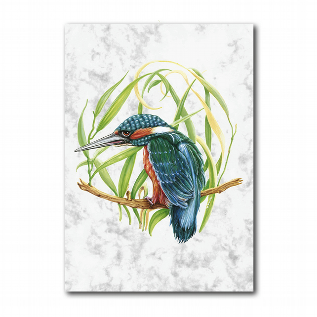 A6 Kingfisher Greetings Card on Marble board (F254)