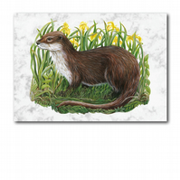 A6 Animal British Wildlife Otter Greetings Birthday Card (F256)