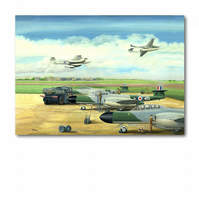 A5 RAF Plane  Greetings Card - Refuelling Meteor NF 11's (F273)