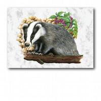 A5 Animal British Wildlife Badger Greetings Birthday Card (F248)