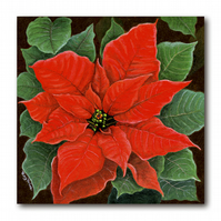 1 x Poinsettia Christmas Card, from a painting by Royden Price (F301)