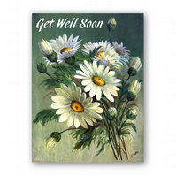 A5 Get Well Soon Card - Marguerites from a painting by Florrie Price (F332)
