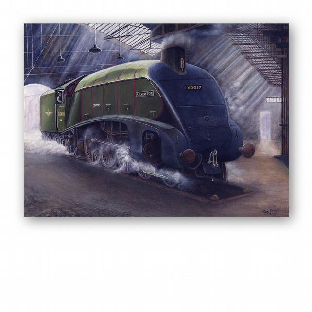 Steam Train Father's Day Card Silver Fox from a painting by Royden Price (F337)