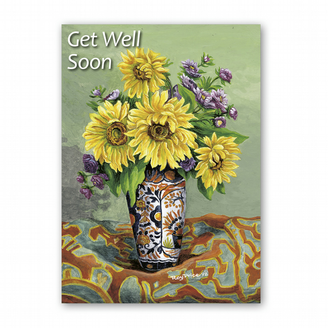A5 Get Well Soon Card - Sunflowers from a painting by Royden Price (F338)