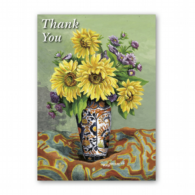 A5 Thank You Card - Sunflowers from a painting by Royden Price (F339)