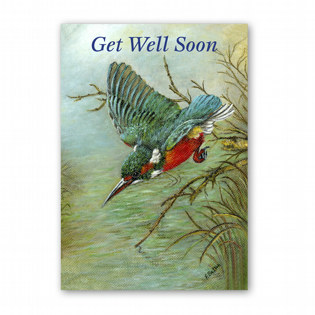 A5 Animal British Bird Wildlife Get Well Soon Card - Kingfisher (F342)