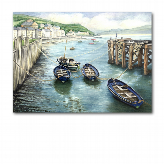 A5 Beach Seaside Welsh Coast Mother's Day Card - Boats at Aberdovey (F278)