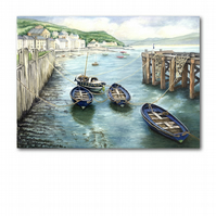 A5 Beach Seaside Welsh Coast Greetings Card - Boats at Aberdovey (F276)