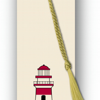 Children's Bookmark - Lighthouse with gold tassel (F453)
