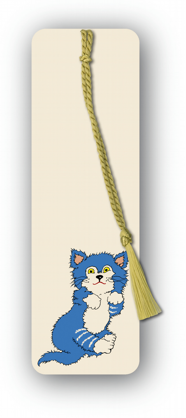 Children's Bookmark - Kitten with gold tassel (F454)